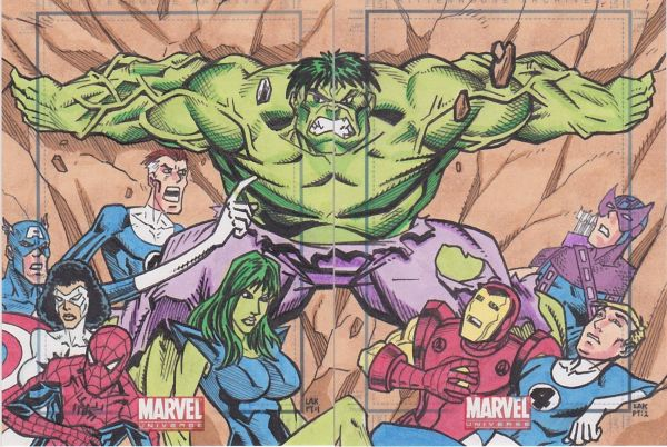 Sketch Card Art of the Day Hulk and Others drawn by the talented Lak Lim, I have always liked his artwork