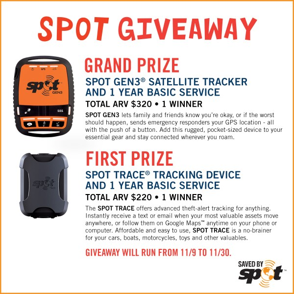 Track You and Your Stuff with Spot Giveaway - 2 Winners