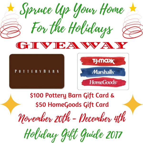 $100 Pottery Barn Gift Card and a $50 HomeGoods/TJ Maxx/Marshalls Gift Card Giveaway
