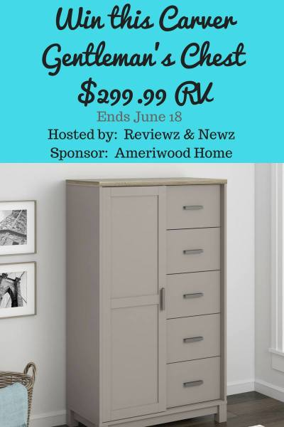 Win an Ameriwood Home Gentleman's Chest - ARV $299 Good Luck from Tom's Take On Things Ends 6/18