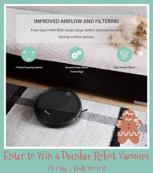Deenkee Robotic Vacuum Cleaner Giveaway Ends 11/2 #gadget #home #giveaway