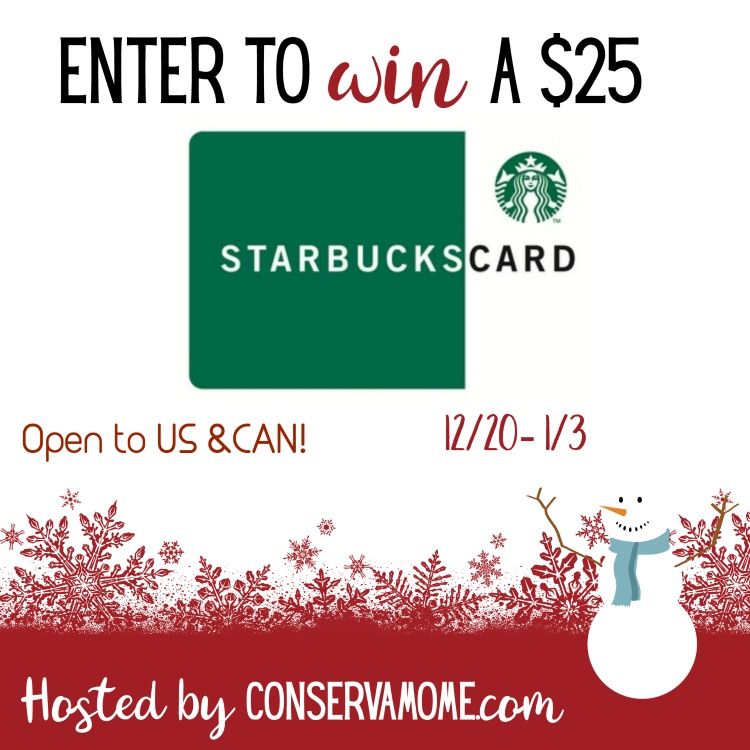 $25 Starbucks Gift Card Giveaway ~ Ends 1/3
