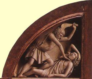 Cain murdering Abel - Jan van Eyck, Ghent Altarpiece.