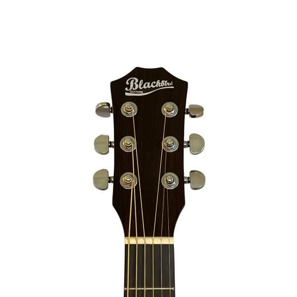 Produktbillede af hovedet på en sort westernguitar med hvid baggrund