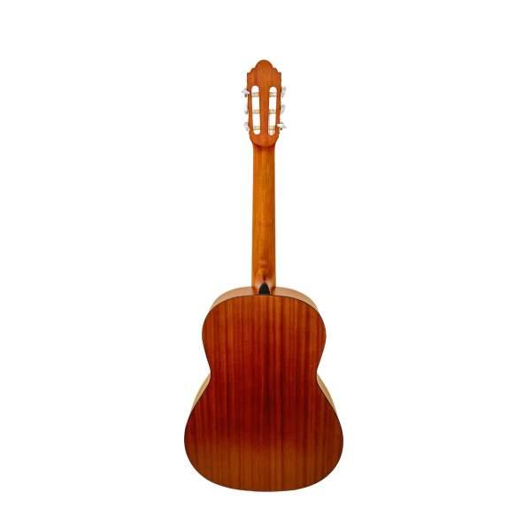 Produktbillede af bagsiden på en klassisk guitar med hvid baggrund