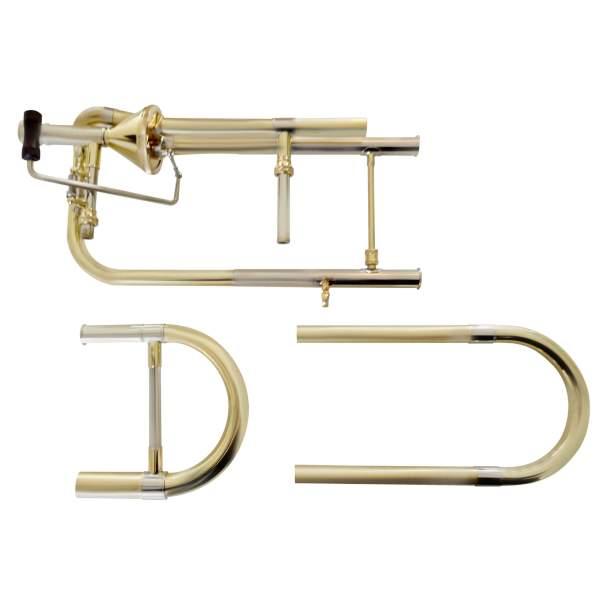 Produktbillede af trombonedele med hvid baggrund