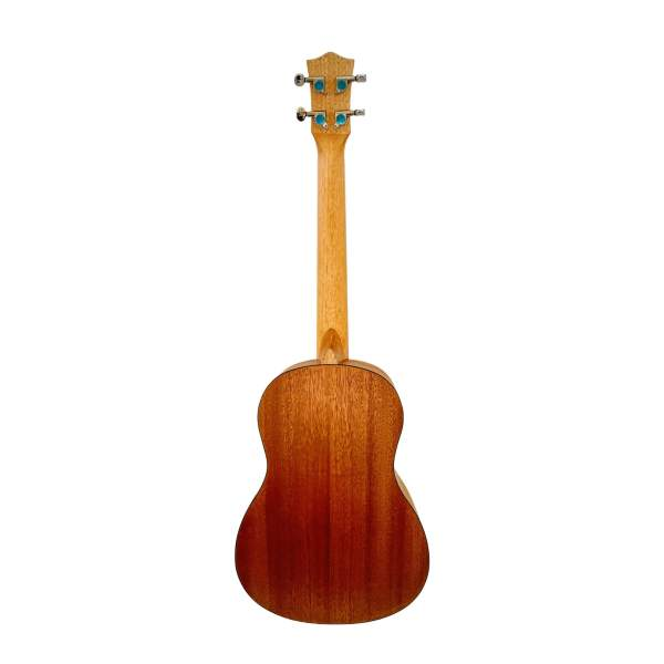 Produktbillede af bagsiden på en koncert/tenor-ukulele med hvid baggrund