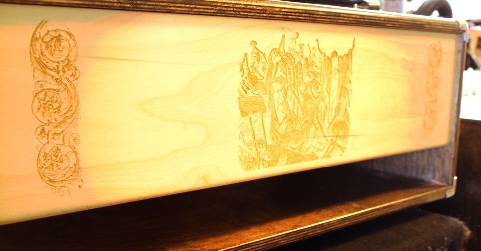 Custom laser-etched baffle board