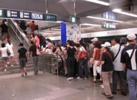 Crowded-escalator