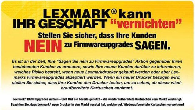 Static warnt seine Kunden vor Lexmark