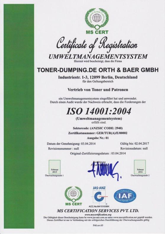ISO 14001:2004 Zertifikatsnummer: GER/TUR(A)/E/00002