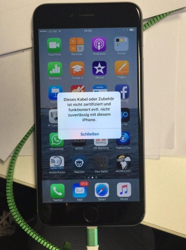 Fehlermeldung. Auf diesem Handy funktionierte das Kabel nicht.