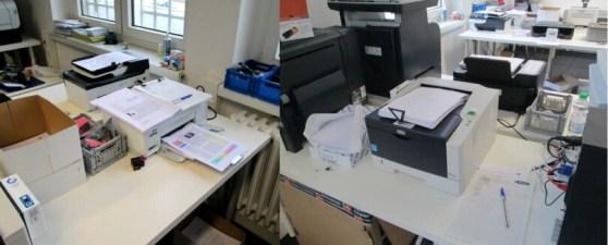 Seitenzahl-Reichweitentests nach ISO. Mit Tintenstrahldruckern (links) und Laserdruckern (rechts).