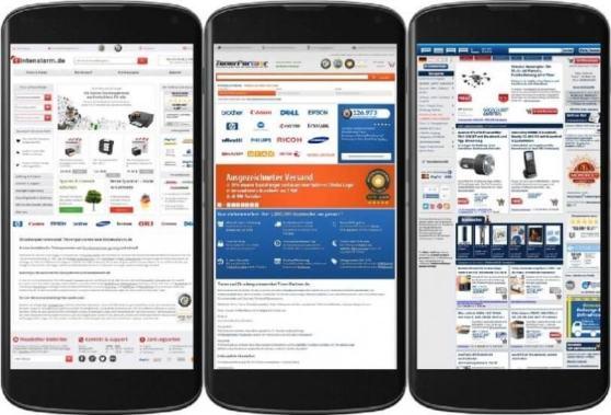 Tintenalarm, Tonerpartner und Pearl: 3 Beispiele von Onlineshops die noch nicht für Smartphones optimiert wurden.