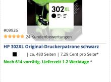 Die HP 302XL schwarz Original-Druckerpatrone ist jetzt wieder deutlich günstiger.