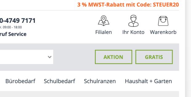 Der MWST-Rabatt steht prominent rechts-oben im Onlineshop
