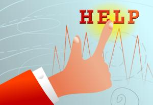 cartoon image of a finger pushing a help button