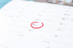 photo of a calendar with a date circled