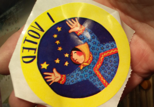 an I Voted sticker reversed