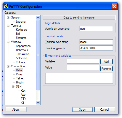 Enter User name on Putty