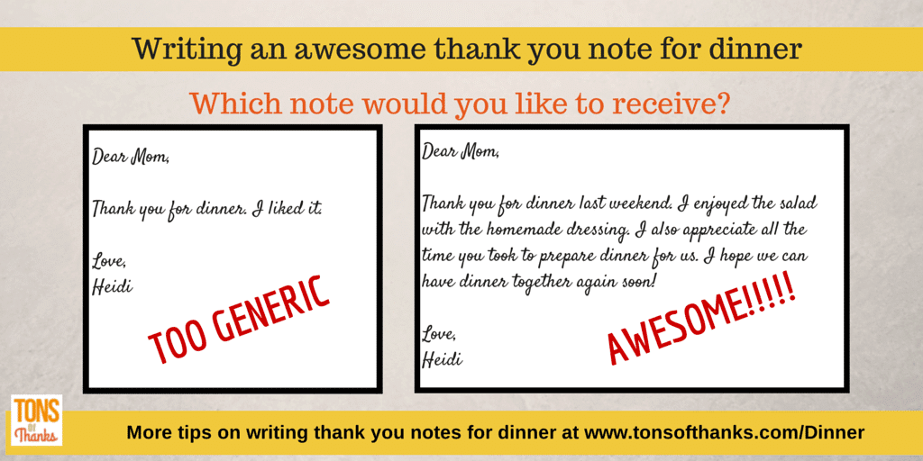 Thank you note for dinner