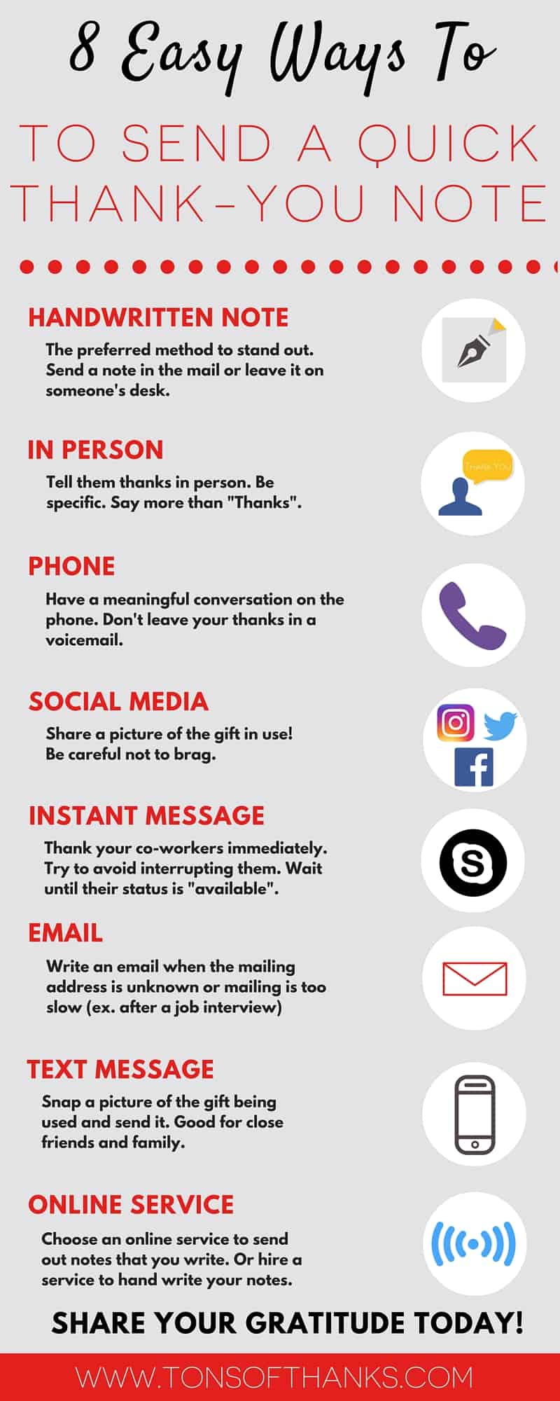 infographic 8 easy ways to send a quick thank you note