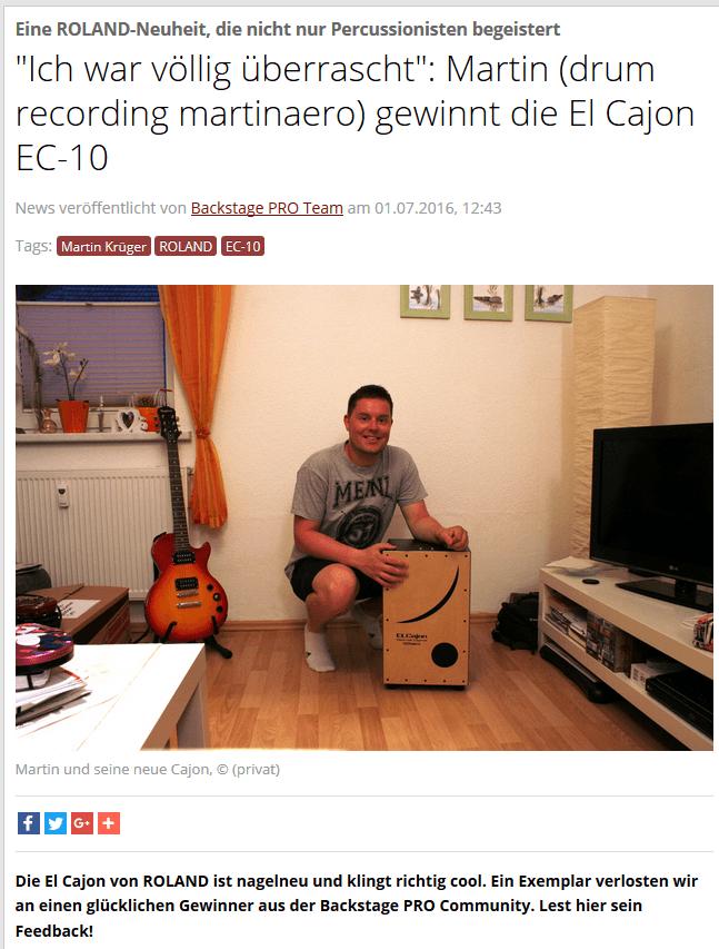 Artikel von BackstagePRO bzgl Roland Gewinnspiel 1