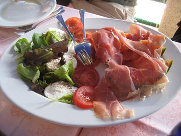 Caprese salad and prosciutto