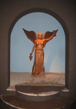 Montes's emblematic angel in Kaiken's cellar