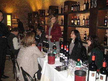 Winery tables in the basement of Enoteca Italiana