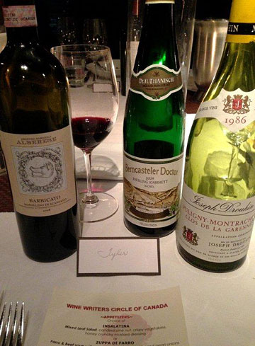 Three of 20-odd wines at the WWC dinner (photo by Tyler Philip)