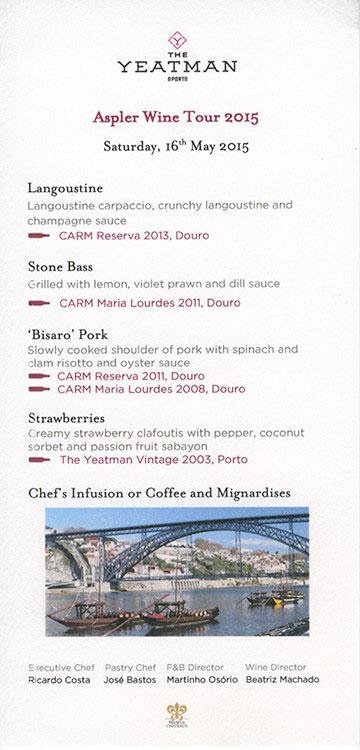 Yeatman dinner menu