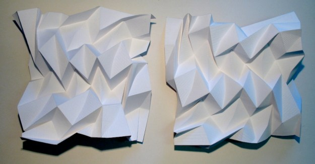 Flute Paperfold 5 (Opposites Attract)- flute paper, 47 x 47 x 15cm x 2units, 2009