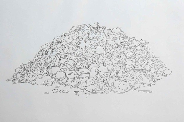 Pile of Broken Tiles and Rubble - pen on paper, 40x60cm, 2004