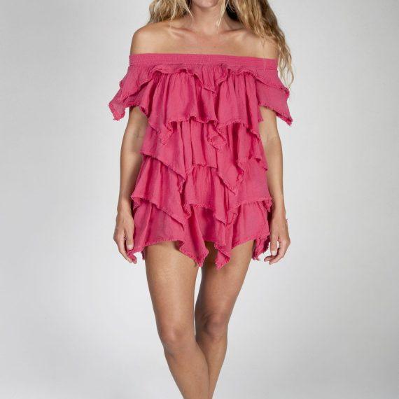 Vestido corto de volantes a picos con remate rústico - Tony Bonet Adlib Ibiza