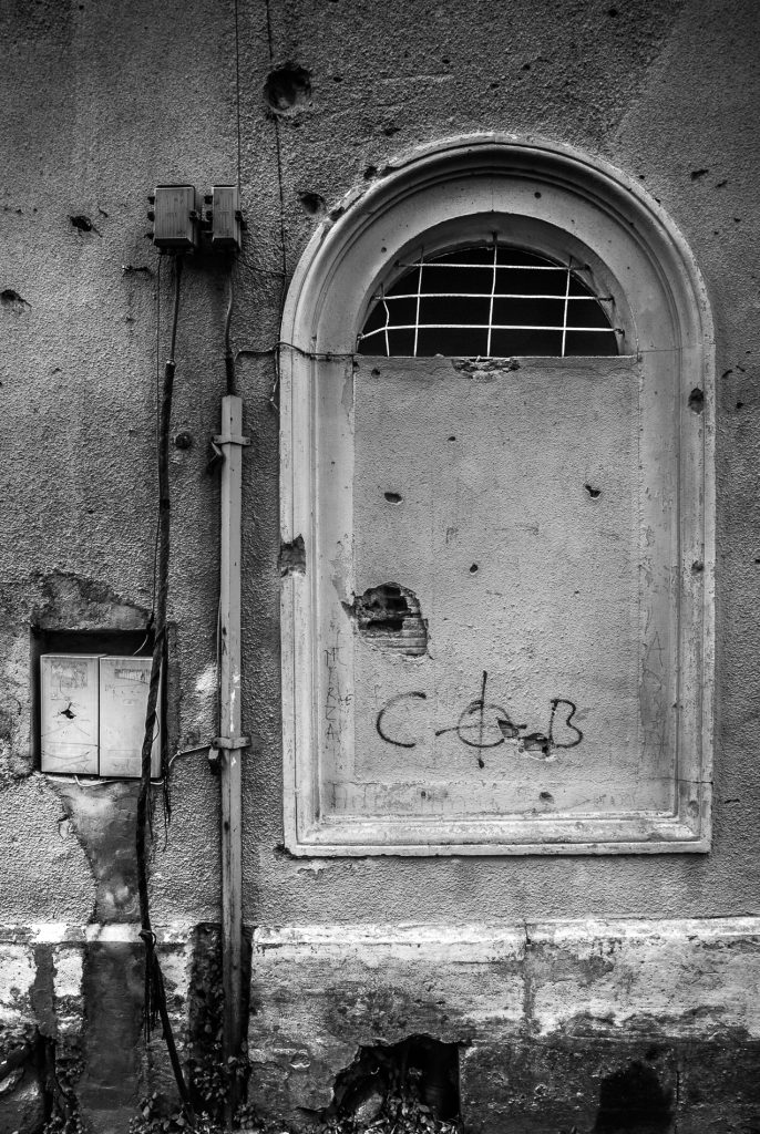 Boarded up window, Mostar, Bosnia and Herzegovina.