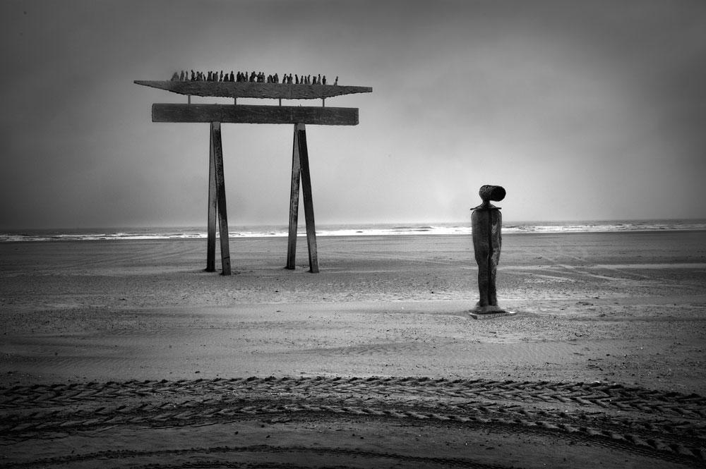 Public art on the beach, the north coast of Belgium.