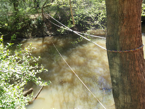 Haw River Bynum Mill Access rope bridge