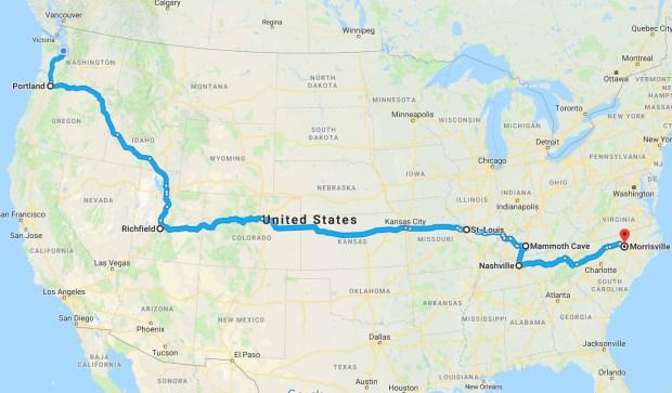 Tony's road trip across the USA map