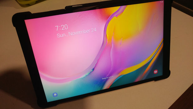 Samsung Galaxy Tab A 10.1 turned on with case