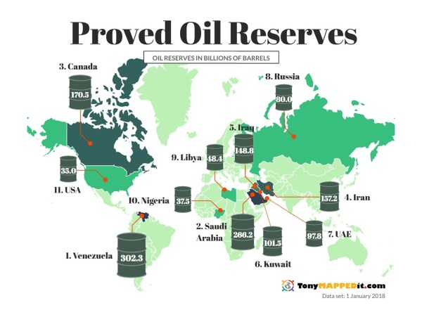This Map Shows All The Oil Reserves In The World - Tony ...