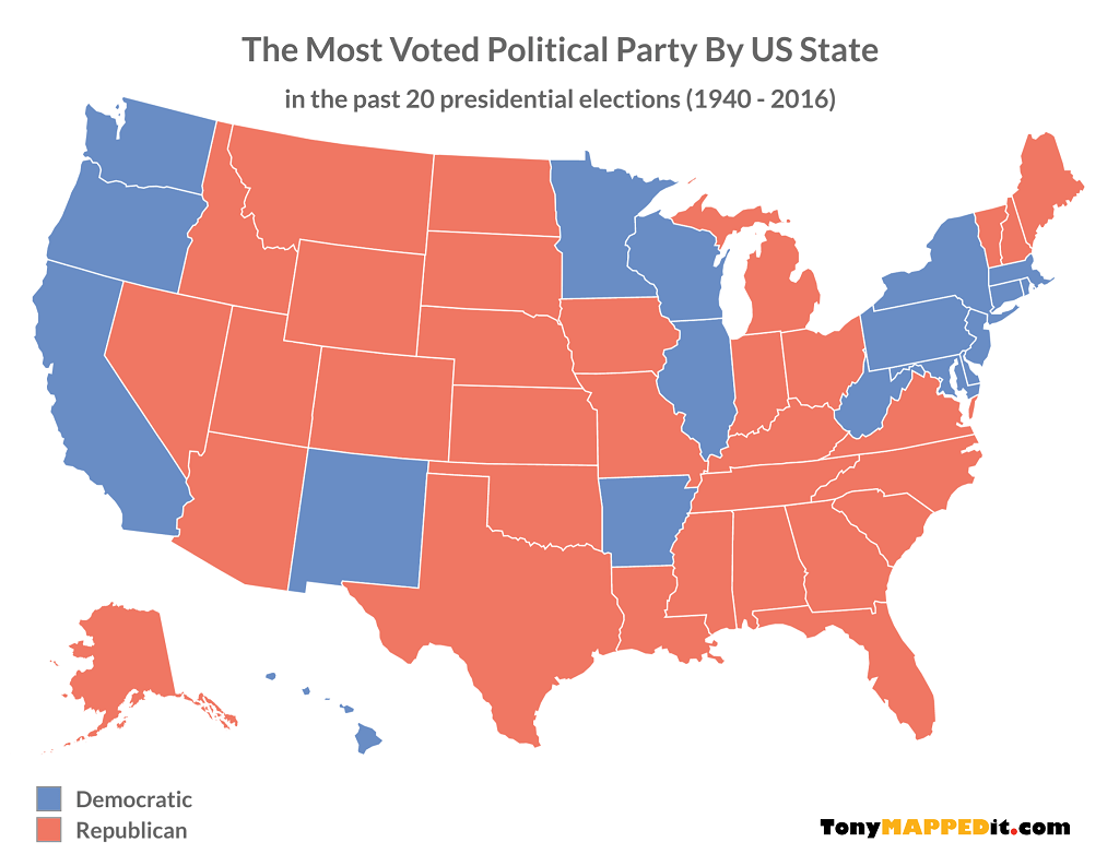 Justin sullivan / getty images news mark zuckerberg says he's neither a democrat nor a republican. 20 Maps Showing The Last 20 Presidential Election Results Tony Mapped It