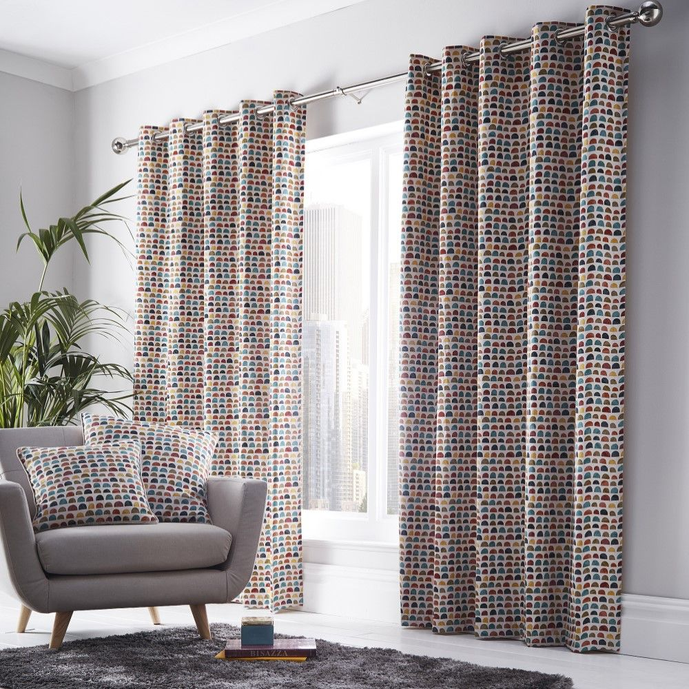 chicago geometric fully lined eyelet ring top curtains cushion cover multi ebay