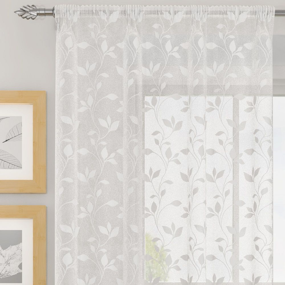 evie floral leaves voile net curtain