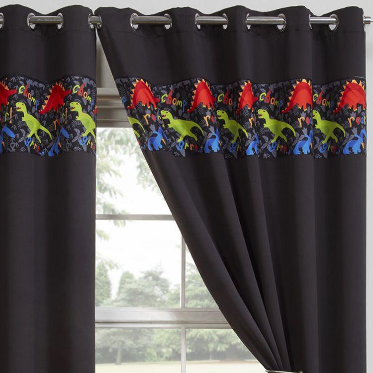 Blackout Curtains Thermal Eyelet Dinosaur Black
