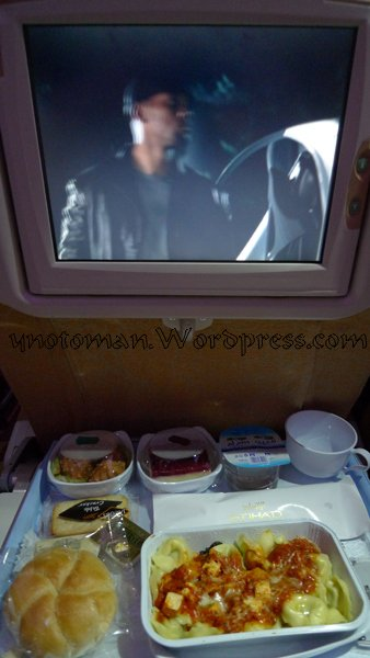 "Will Smith in ""I Robot"" looks over my Etihad meal"