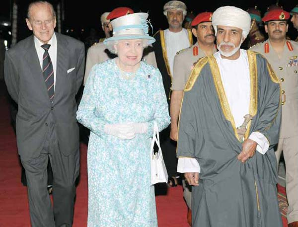 Queen Elizabeth in Oman as she and Prince Philip are welcomed by Sultan Qaboos