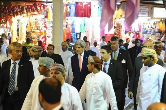 John Kerry doing some early Christmas shopping in Mutrah Souq