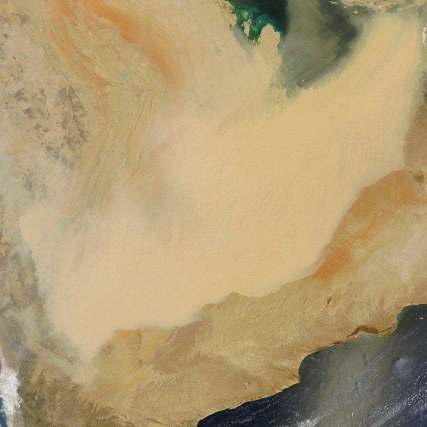 Dust 2 April 2015 over Oman and Arabia - c NASA