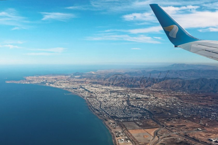 Oman Air over Azaiba in Muscat